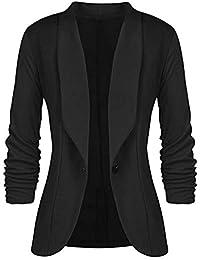 6182735c4ad02 Minetom Femme Élégant Blazer à Manches Longues Slim Fit OL Bureau Affaires  Veste De Costume Un