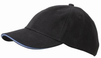 6 Panel Raver Bicolor Sandwich Baseball Cap in Heavy Brushed Cotton mit Metallschnalle zur Grössenverstellung in 16 Farbkombinationen ( Einheitsgrösse ) Graphit-Aqua