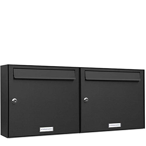 AL Briefkastensysteme 2er Briefkastenanlage Anthrazit Grau RAL 7016, Premium Doppel-Briefkasten DIN A4, 2 Fach Postkasten modern Aufputz