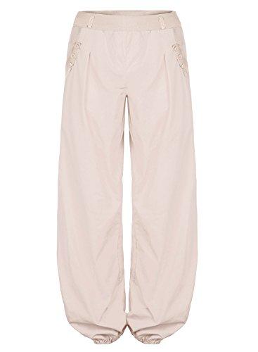BAISHENGGT Pantaloni Baggy allentati con tasche laterali Harem Pants - Donna Beige X-Large