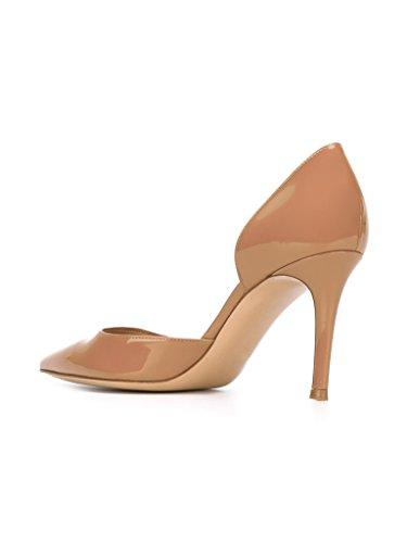 EDEFS - Escarpins Femme - Talon Haut Aiguille - Bout Pointu D'orsay Chaussures de mariee Soiree Beige