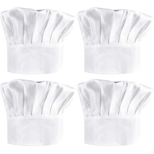 4 Pezzi Cappello da Cuoco in Poly-Cotone Cappellino da Cucina Regolabile  Cappello da Cucina baf8964dd80a
