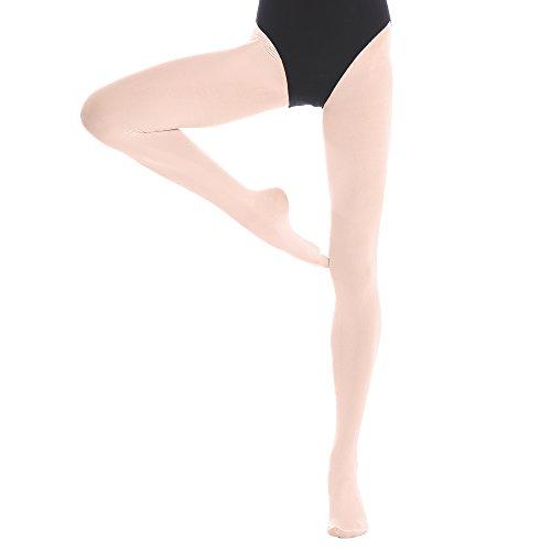 Bezioner Kinder Ballett Strumpfhose Tanzstrumpfhose mit Fuß für Kinder und Damen Rosa 1 Paar S