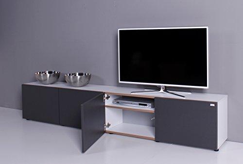 TV Lowboard NOOMO weiß / anthrazit - 2