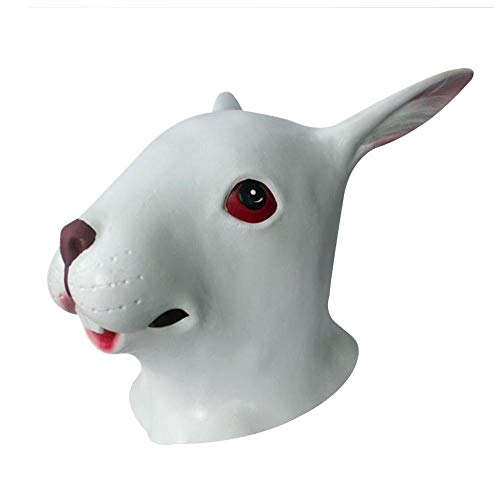 Lixinfushi Kaninchen Latex Maske, Full Overhead Tier Bunny Maske Halloween Party Kostüm Maske Herren Deluxe Latex Kaninchen Maske - Handmade Kaninchen Kostüm