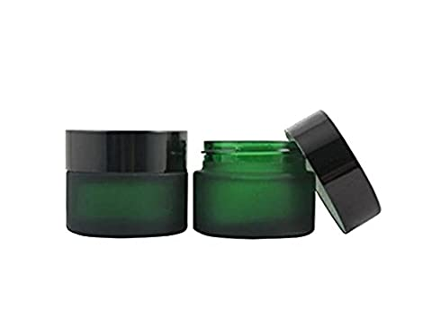 2PCS 30ML(1 OZ) Empty Refillable Green Glass with Liners and Screw Black Cap Cosmetic Cream Jar Pot Bottle Container for Salve, Cream, Diy Beauty, Essential Oils, Lotion, Apothecary, Body Butter & Sugar