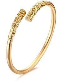 4d7ddf9d810 HITSAN INCORPORATION Vnox Cuff Bracelets for Women Jewelry Gold-Color  Monkey King Bar Style Bracelets & Bangles Metal Color 18k Gold…