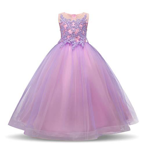TTYAOVO Vestito da Cerimonia Nuziale delle Ragazze degli Abiti da Ballo della Principessa Pageant delle Ragazze Ricamati Dimensioni 6-7 Anni Viola