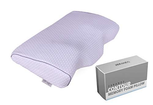 Contour Memory Kissen (ZBRANDS Contour Memory Foam Kissen für Seitenschläfer & Rückenschläfer - Orthopädisches Nacken- und Schulterschmerzen - ergonomisches Design mit Nacken- und Rückenstütze)