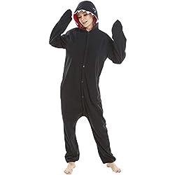 LSERVER Ropa de Dormir Disfraz de Cosplay para Adultos Traje de Unisexo Pijama de Forro Polar de Otoño e Invierno Estilo de Animales, Tiburón Negro, S