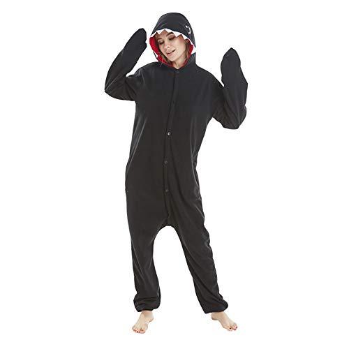 LSHEL Cosplay Jumpsuit Tier Cartoon Karneval Halloween Kostüm Fleece Overall Pyjamas Unisex Erwachsen Einteilige Pyjamas, Schwarz, - Schwarzer Overall Für Erwachsene Kostüm
