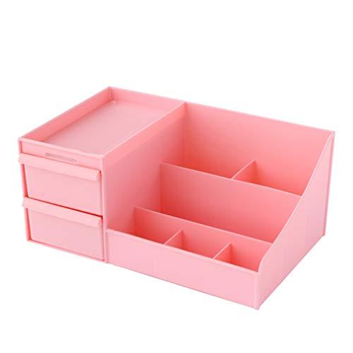 Affichage Cosmétique de Cas D'organisateur de Stockage de Bijoux de Maquillage - Conception Spacieuse - Idéal pour La Salle de Bains, Commode (Couleur : Pink)