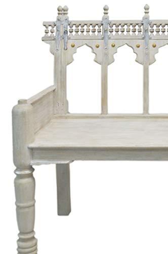 Orientalisches Zweisitzer Lounge Sofa aus Holz Ilisabat weiß 116cm Groß | Orientalische Sitzecke Sitzbank 2 Sitzer Outdoor im Garten oder Balkon | Marokkanisches Design Holzbank Bank massiv
