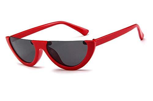 WSKPE Sonnenbrille,Cool Trendige Hälfte Frame Sonnenbrille Cat Eye Sonnenbrille Frauen Sonnenbrille Rot Gestell Schwarz Objektiv