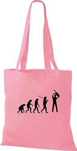 Shirtinstyle Borsa Di Stoffa Iuta Evoluzione Boscaiolo Falegname Vari Colori Rosa