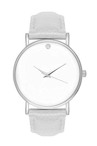 Armbanduhr Damenuhr Damenuhren Bloggeruhr Trenduhr Edelstahl Uhr Uhren Günstig Quarzuhr Designer Farbe: Weiß Grau Silber Style: Schlichtes Minimal Design ohne Ziffern Unisex