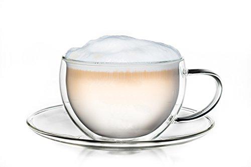 Creano Thermo-Tasse doppelwandige Tee-/Latte Macchiato Cappuccino Tasse mit Untersetzer 250 ml