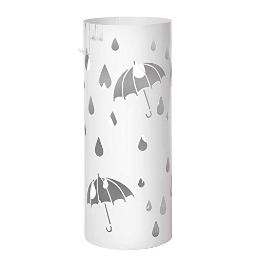 Songmics porta ombrelli in metallo, portaombrelli rotondo, con gancini e vaschetta scolapioggia rimovibile, Ø19,5 x 49 cm, bianco luc23w