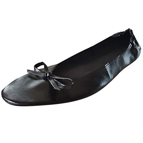 Dorical Ballettschuhe für Damen,Ballettschläppchen Tanzschuhe Geteilte Kunstledersohle für Kinder und Erwachsene,Faltbar,Party Schuhe(Schwarz,Fuß Länge:24-25 cm)