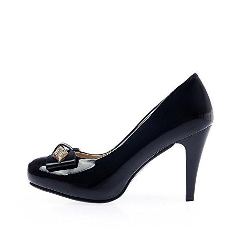 VogueZone009 Femme Rond à Talon Haut Verni Couleur Unie Tire Chaussures Légeres Noir