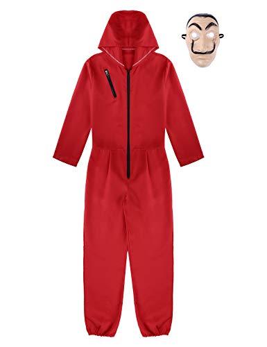 TiaoBug Unisex Disfraz de La Casa de Papel Traje de Cosplay Dali para Carnaval Halloween Bodysuit Rojo+Máscara Fiesta Rojo Medium