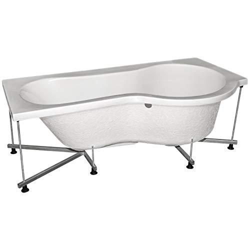 Schulte Badewanne 70-91 x 170 cm, inkl. Füße und Wandverankerung, Sanitär-Acryl alpin-weiß, ergonomischer Liegebereich, Duschbereich rechts