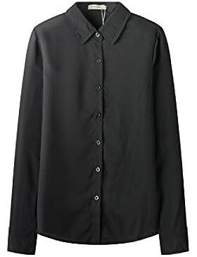 Yacun mujeres de cuello manga larga blusa sólida