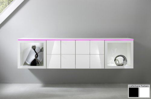 Dreams4Home Sideboard hängend Square Kommode Wohnzimmer weiß o schwarz hochglanz LED-RGB-Beleuchtung, Beleuchtung:mit Beleuchtung;Farbe:Weiß