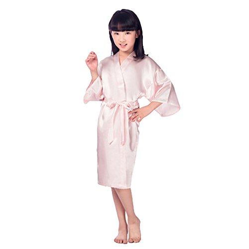 Hibote Flower Girls Raso Kimono túnicas túnica Dama