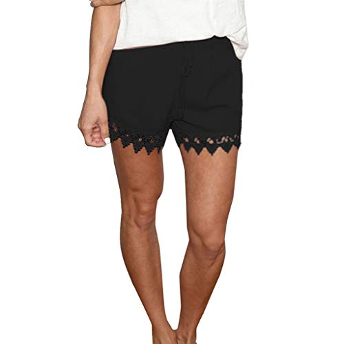 Lonshell Damen Spitze Shorts Yoga Sporthosen Sommerhosen High Waist Mode Kordelzug Kurze Hose Pants mit Taillenband Elegant Hotpants Strandshorts - Shorts Boxing Frauen