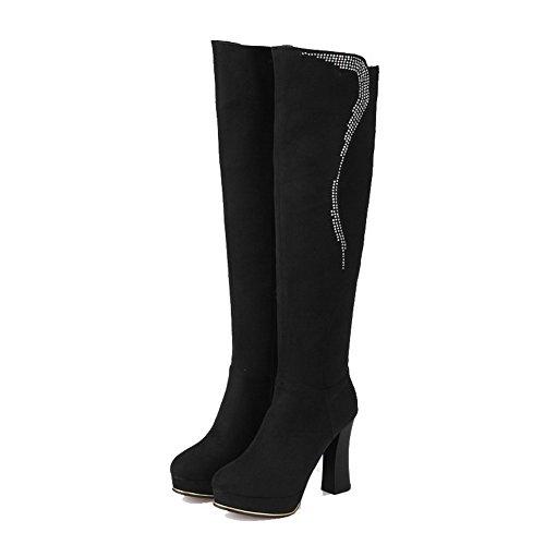 AllhqFashion Damen Eingelegt Hoch-Spitze Hoher Absatz Stiefel mit Beschlagene Strass Schwarz