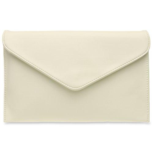 CASPAR TA310 Damen Envelope Clutch, Farbe:creme weiss -