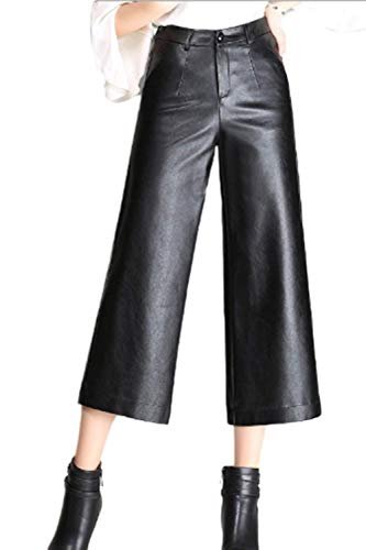 Pantaloni Pelle Autunno Invernali Eleganti Donna Pantaloni Larghi con Tasche con Cerniera Basic High Waist Baggy Lunga Trousers Pantaloni Pelle Sintetica Pantaloni Dritti Pantaloni Baggy Ragazza