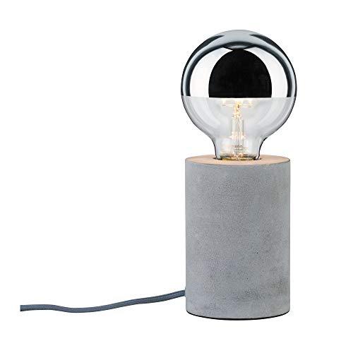 Paulmann 79621 Neordic Mik Tischleuchte rund max. 1x20W Tischlampe für E27 Lampen Nachttischlampe Grau 230V Beton ohne Leuchtmittel