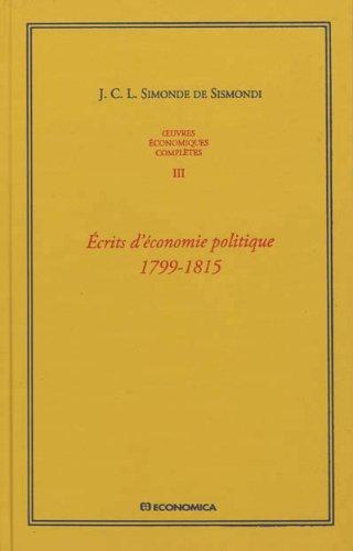 Oeuvres économiques complètes , Vol 3