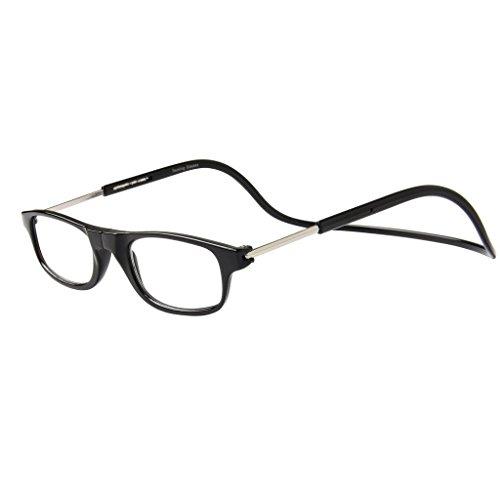 Jee Retro Lesebrille herren damen Brille Magnet reading glasses OL02(schwarz,+2.00)
