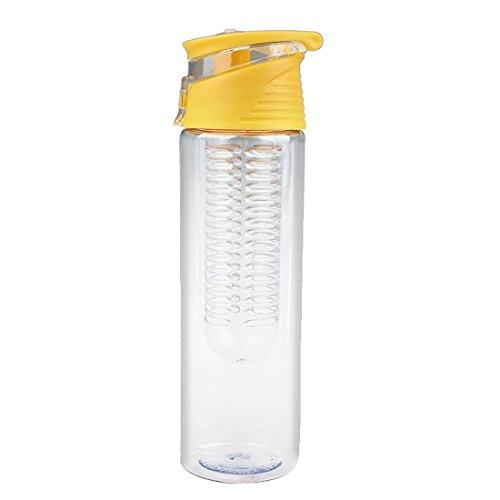 SODIAL(R)800ML Sports Fruit Infusing Infuser Bouteille d'eau Lemon Juice Health Bottle Flip (couleur: jaune)