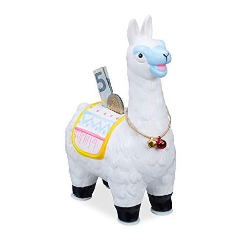 Relaxdays Lama Spardose, Keramik, mit Sattel & Glöckchen, Geschenkidee, Sparbüchse mit Gummistopfen, HBT 20x13x8cm, weiß -