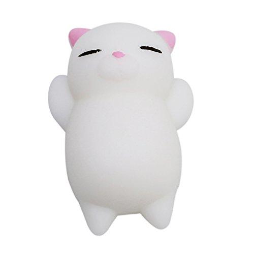 Albeey Kawaii Squishy Spielzeug Mini Slow Rising Antistress Entspannung Spielzeug Weiches Handkissen Spielzeug (weiße Katze)