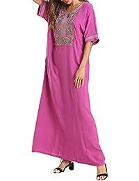 Vestido Largo Islámico Abaya Mujer - Caftan Musulmanes Maxi Arabe Kaftan Bordado Playa Jalabiya Manga Corta