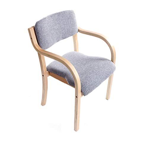 Chaise en bois européen Chaise de salle à manger en bois massif Accueil Balcon Bureau Fauteuil Café Siège de l'hôtel/Gris - Paquet de 1