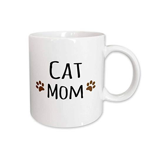 3dRose Cat Mom Text in schwarz mit Zwei Paw Prints-Für Weibliche Tier Eigentümer und Kitty-Keramik Tasse, 11-Ounce (Tasse 154053_ 1) -