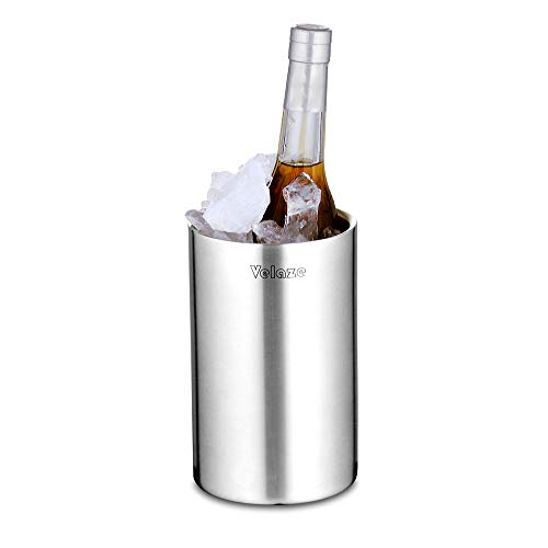 Velaze Flaschenkühler für Wein und Sekt Flaschen | Doppelwandiger Edelstahl mit matt gebürsteter Außenoberfläche | Weinkühler, Zubehör für Weinflasche oder Bar Set Kühler-1.5L