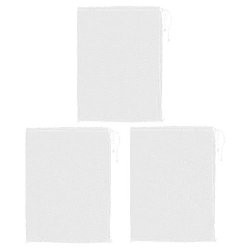 DealMux Drawstringschliessen Suppe Essen Filter Mesh Bag 35.5cm x 28cm 3pcs Weiß