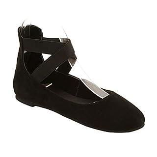 uirend Schuhe Damen Ballerinas Flach - Mary Jane Halbschuhe Pumps Ballerinas Cross Riemchen Ballettschuhe Freizeitschuhe Flache