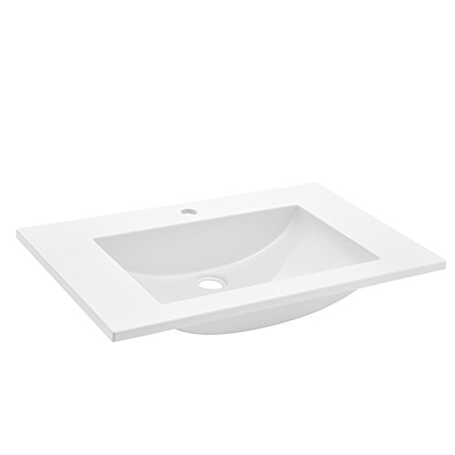 [neu.haus] Waschbecken Einbauwaschbecken Handwaschbecken - weiß - 60x46x14,5cm - aus Mineralguss