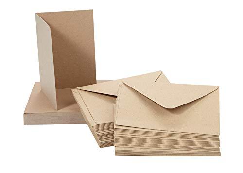 Kraftpapier Kartenset | 50 Doppelkarten mit 50 Umschlägen | Format A6