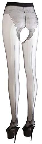Cottelli Collection Stockings & Hosiery - verführerische Strumpfhose mit offenem Schritt und Höschenteil, erotische Ouvert-Strumpfhose für sie, schwarz