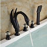 Galvanotecnica Retro rubinetto supporto da parete doccia a pioggia Sistema 8pollici rotonda soffione doccia doccetta rubinetto miscelatore Set Black Polish cromo