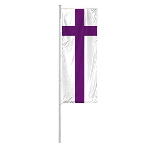 Vispronet® Evangelische Kirche Hissfahne 120x300 cm für Ausleger ✓ in Deutschland produziert ✓ versch. Materialien ✓ Hochformat (Premiumqualität)